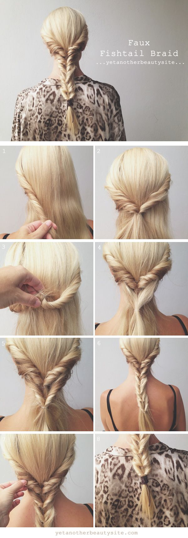 quick and easy faux fishtail braid (plait) hairstyle tutorial
