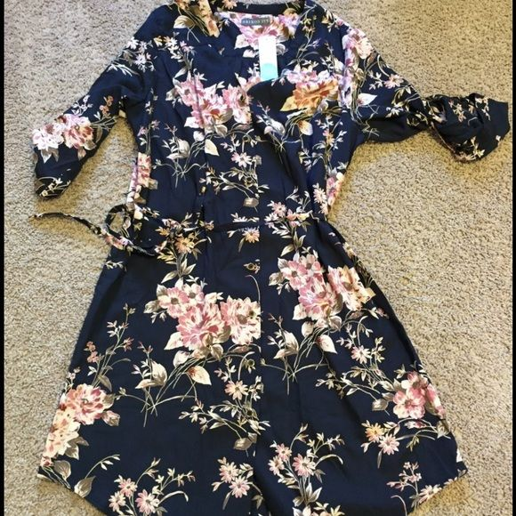 Stitch Fix Brixton Ivy Cherelle Dress Brixton Ivy brand dress in moody florals. Optional roll up/button sleeves, buttons down front. Can be worn alone, with tights/leggings, jeans, or open like a jacket or kimono. Brixton Ivy Dresses