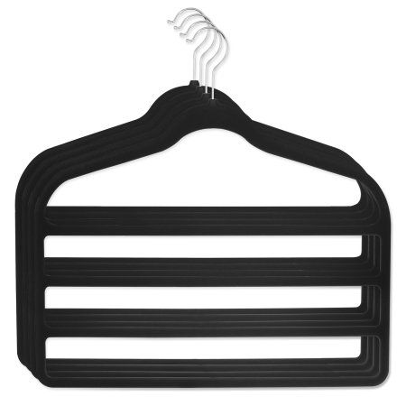 4 Pack Hangers for pants Bar Pants Velvet Hangers - Space Saving, Black