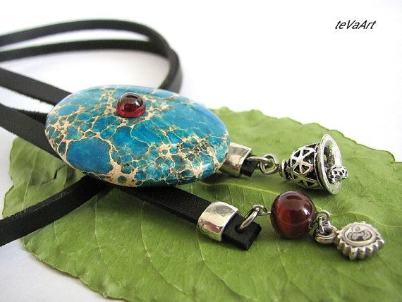 #Bolo tie stone agate.Author's work.New design for women and men.This model made from artifical leather,Jasper stone with garnet stone,agate stone.agate .Metal stainless ste... #bolo #jewelry