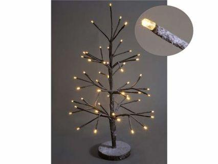 Albero abete natalizio luminoso marrone effetto innevato con 52 luci led  Misure: Ø 35 cm x 60 H Funziona con 4 pile stilo non incluse - 52 luci led bianco caldo Materiale: Altri Metalli