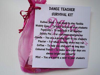 DANCE TEACHER Survival Kit Novelty Gift Keepsake Fun Present in Home ...