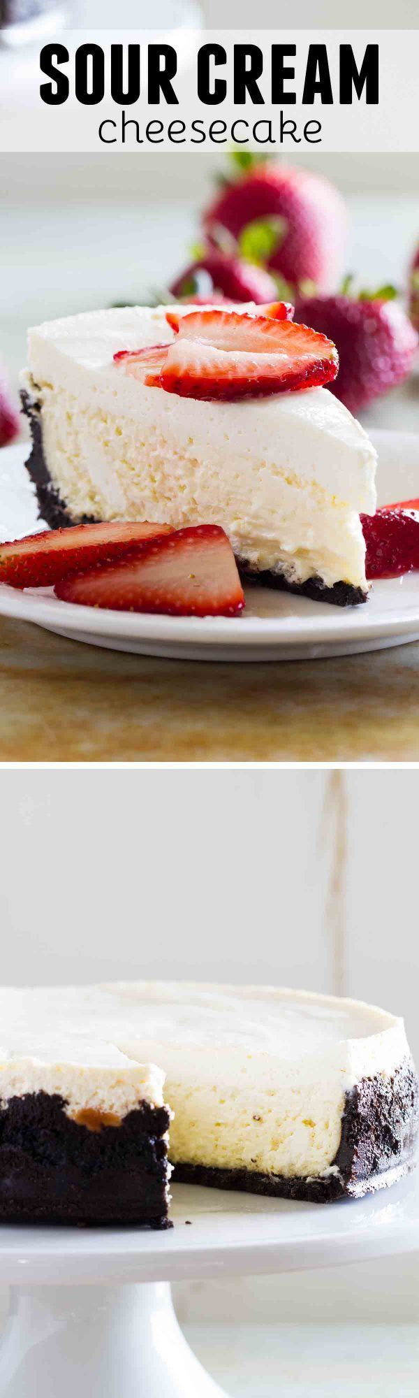 A rich, classic cheesecake is topped with a creamy, tangy sour cream layer. Add in a chocolate cookie crust and your favorite cheesecake toppings and this Sour Cream Cheesecake equals the perfect dessert!