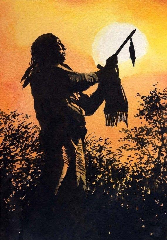ORACIÓN del atardecer acuarela indio nativo americano Painting lámina de arte firmado por el artista D J Rogers