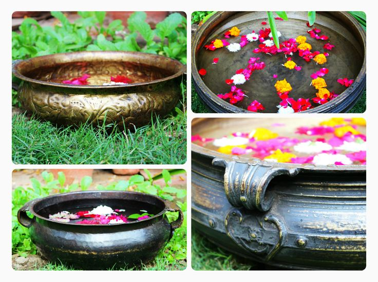 """Beautiful traditional """"Urlis"""" filled with water, floating candles and flowers to welcome your friends and relatives #indianshelf #urli http://goo.gl/tvrSeb"""