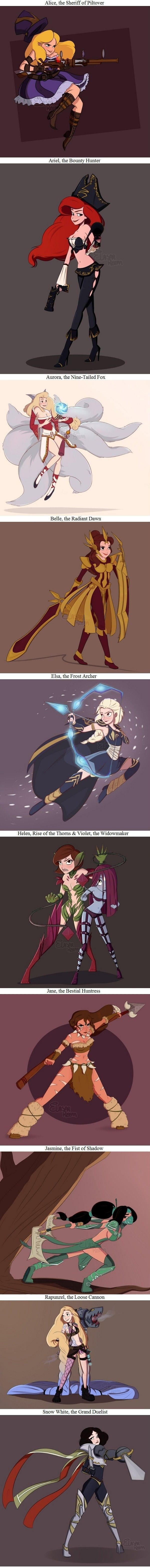 League of (Disney) ladies   disney princesses as league of legends champions characters. Alice in wonderland as Caitlyn, Ariel the little mermaid as Miss fortune, Aurora the Sleeping Beauty as Ahri, Belle as Leona, Else from frozen as Ashe, Helen and Violet as Zyra and Evelynn, Jane from tarzan as Nidalee, Jasmin as Akali, Rapunzel as Jinx, and Snow white as Fiora. Fan art #disneyFanArt