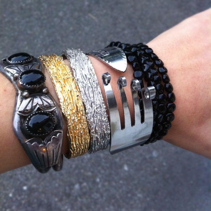Fork: 2 1 12 Bracelets, Bracelets Jewelry, Style, Onyx Bracelets, Diy Bracelets, Forks Bracelets, Jewelry I, Jewelry Categori, Bracelets Ideas Inspiration