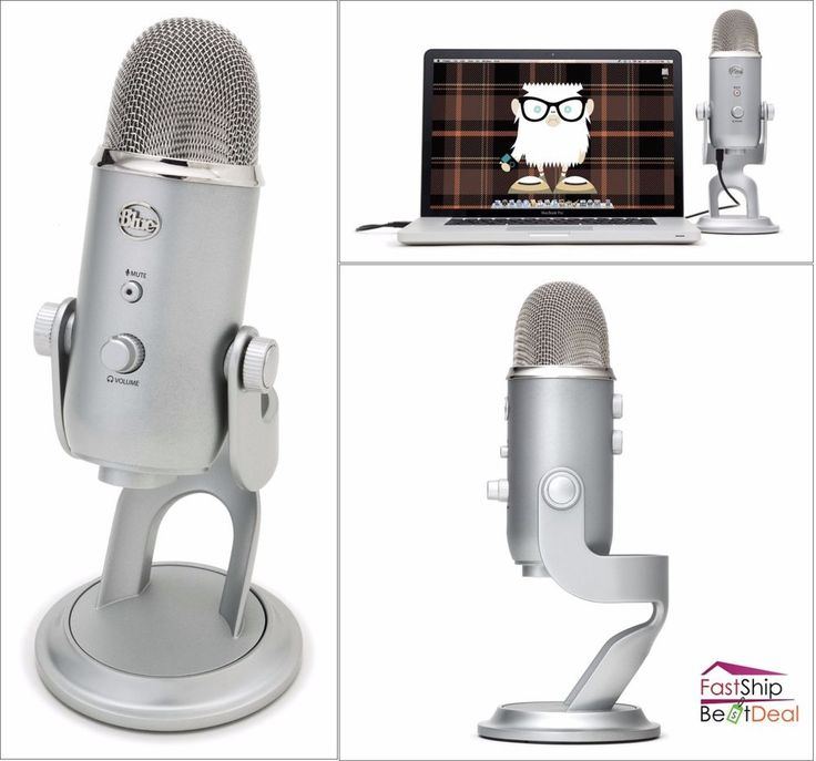 Yeti USB Microphone Studio 3 Condenser Capsules Vocal Recording Podcasting Mic #BlueMicrophones
