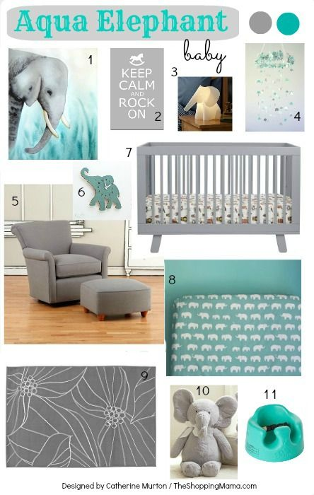 Aqua Elephant Nursery Design Board with Babyletto Hudson 3-in-1 Convertible Crib Love the color combination