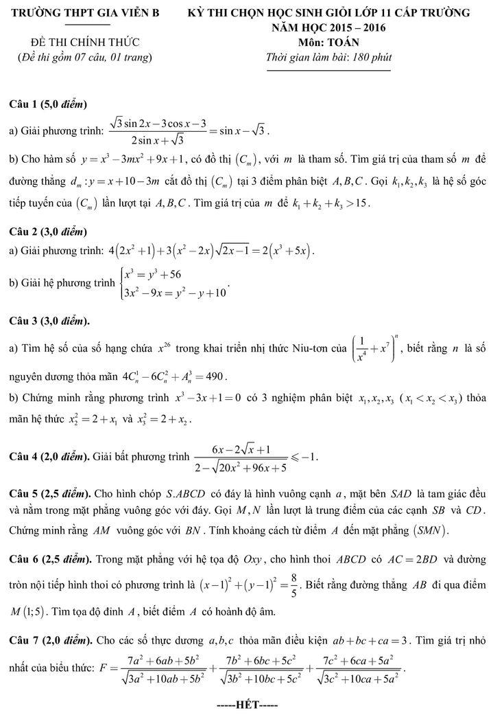 Đề thi học sinh giỏi môn toán lớp 11 cấp trường Gia Viễn thuộc tỉnh Ninh Bình năm 2015-2016 có cấu trúc gồm 7 câu, mỗi câu giao động từ 2 đến 5 điểm