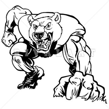 mascot clipart image of bear football graphic player black