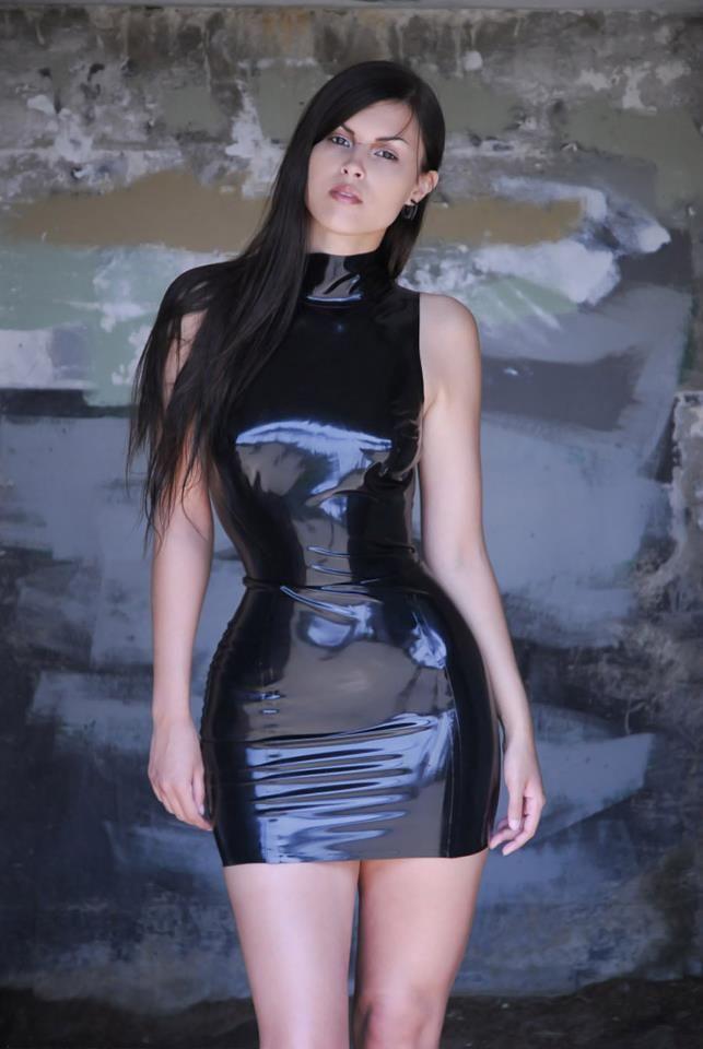 simple LBD - but skintight glossy black latex microdress on stunning model