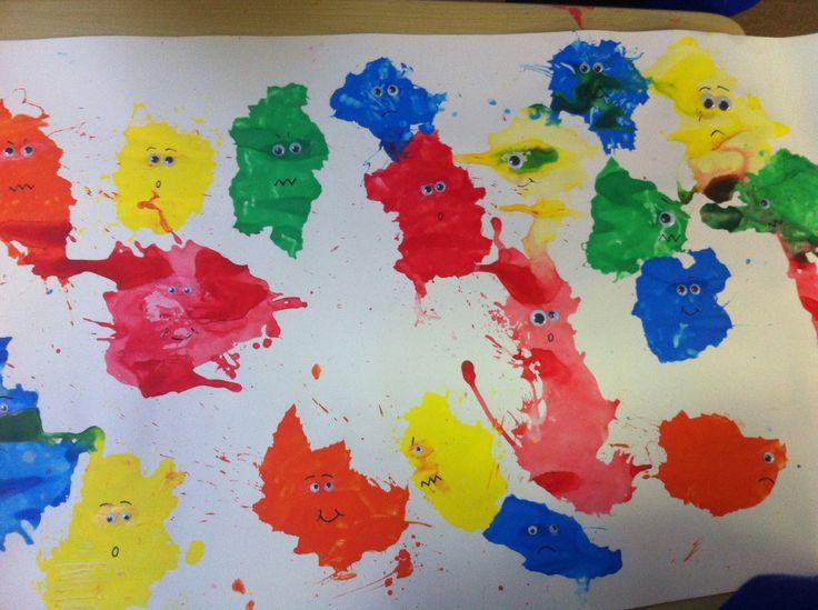 Blow paint monsters by junior infants