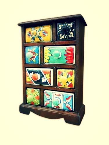 #Joyero de madera con 8 cajones de #ceramica pintados a mano