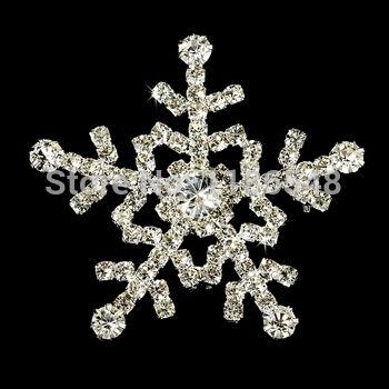 1.75  блестящие серебряный тон горный хрусталь кристалл стразами снежинка свадьба брошь