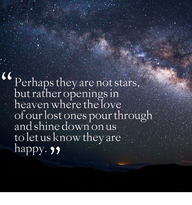 Lovely Quotes Picture: Perhaps They Are Not Stars, But Rather Openings In Heaven  Where The Love Of Our Lost Ones Pour Through And Shine Down On Us To Let Us  Know ...