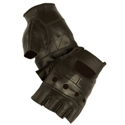 Fingerlose Handschuhe Stil US Army, Airsoft Paintball Outdoor Motorrad Autofahren, 100 % Leder, Größe S, Schwarz