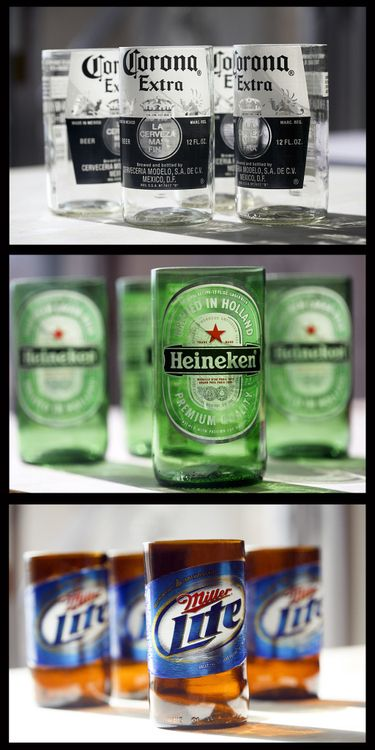 Beer bottle crafts into cups