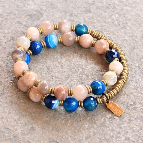 Independence and confidence, Sunstone and Blue lace agate 27 bead mala wrap bracelet #loveprayjewelry