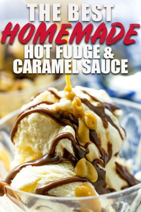 I've got my two favorite ice cream sundae topping recipes up today-- homemade hot fudge sauce made easy with sweetened condensed milk and a butterscotch caramel sauce with brown sugar! So delicious! #fudge #icecreamsandwich #dessert #dessertrecipes #sweet #sweettreats #caramel #butterscotch #easyrecipe #recipe #popcorn #vanilla #recipeoftheday