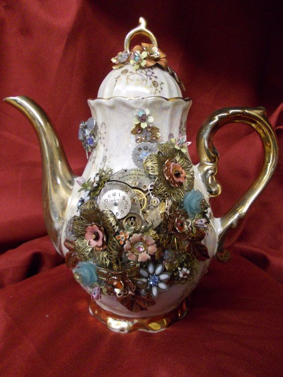 Taking Tea in the Garden: Steampunk Upcycled Decorative Teapot with Vintage Jewelry and Watch Movement on Etsy, $119.99