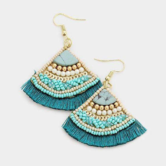 Seed Bead Fan Tassel Earrings in Teal with Velvet Backing    Color : Teal  Size : 2″ X 2.5″  Fish Hook Back    http://etsy.me/2iNBp1H