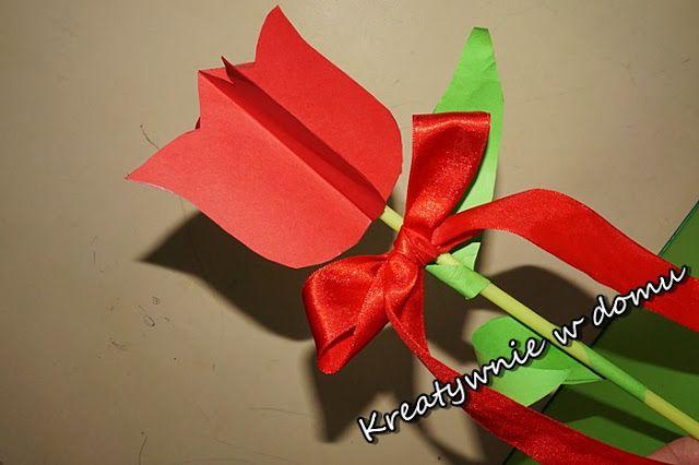 tulipan 3 d z papieru, dzień kobiet, dzień mamy