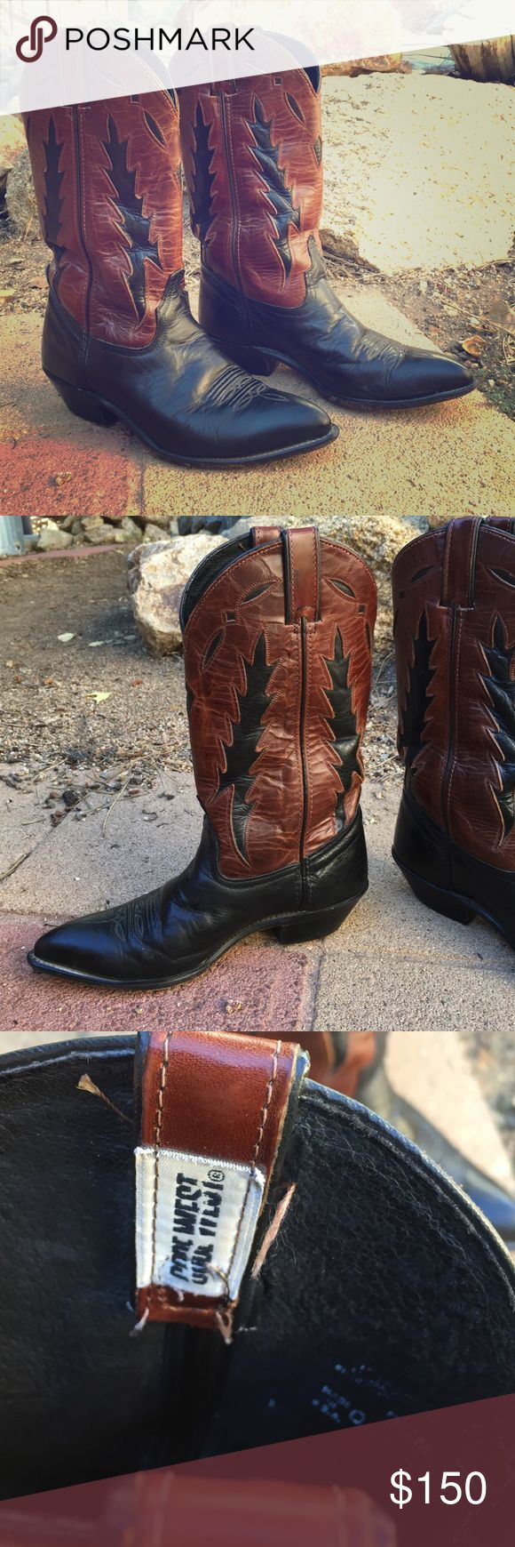 Code West Cowboy Boots Vintage western boots 😍 black leather with brown leather design • size 7.5 women • cowboy boots • Code West #codewestboots #cowboyboots #boots #vintagewesternboots #morningmonologue #sexyboots Code West  Shoes