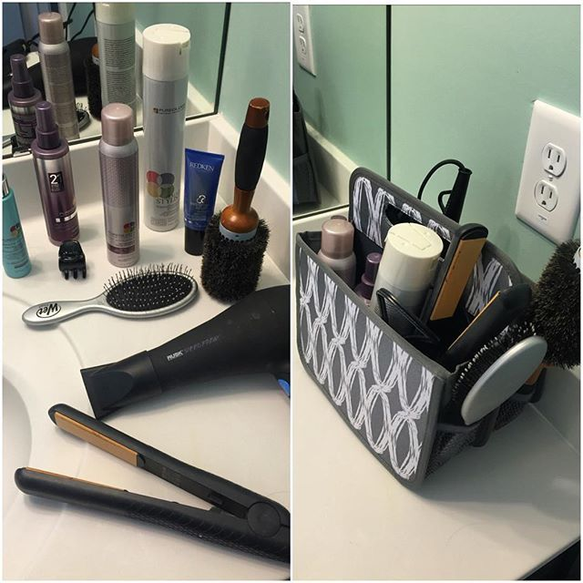 The Double Duty Caddy keeps your hair accessories off the bathroom counter.