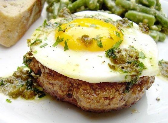 Steak Hache Avec Oeufs A Cheval Hamburgers W Eggs On Horseback Recipe - Food.com