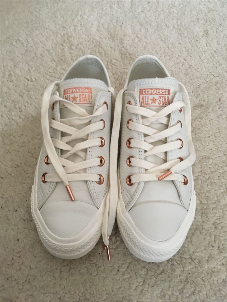 Egret (white) Leather Converse with Rose Gold details - I just bought these and absolutely love them!