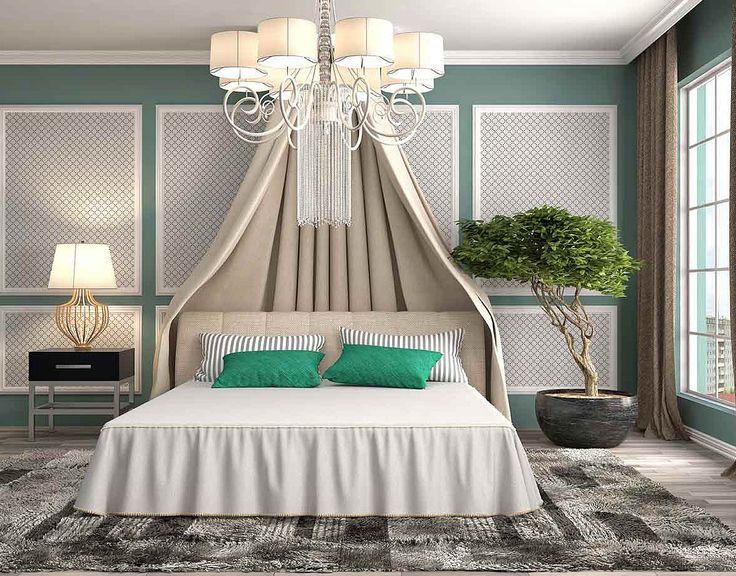 Спальня с бежевым балдахином над кроватью: купить всё необходимое и получить консультацию дизайнера вы можете в Центре дизайна и интерьера 'ЭКСПОСТРОЙ на Нахимовском'