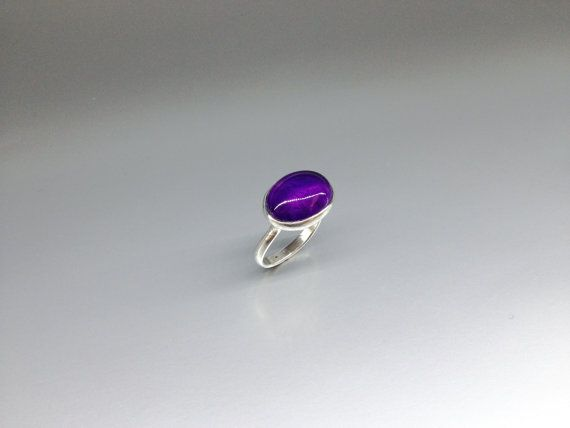 Check out Amethyst ring set in Sterling silver - Deep purple cabochon cut - gift idea on gemorydesign