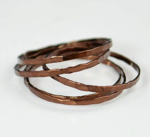 Set of 5 Super Thin Chocolate Silver Stackable Rings, Brown Ring, Brown Stacking Rings,  Brown Jewelry, Stacking Ring Set, Chocolate Ring by Alaridesign