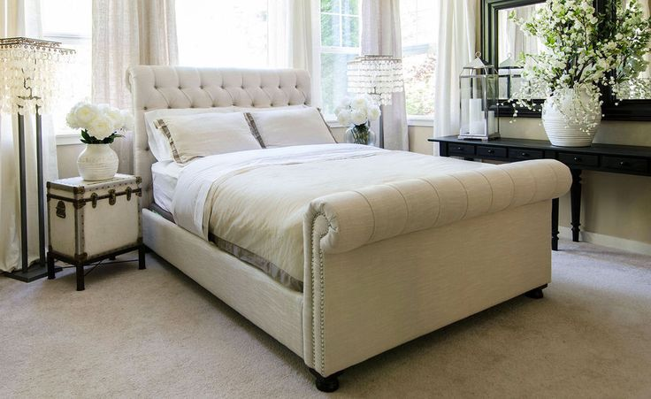 CREAM 5FT KING SIZE CHENILLE BED FRAME, SLEIGH BED 6 COLOURS CHESTERFIELD in Home, Furniture & DIY, Furniture, Beds & Mattresses | eBay