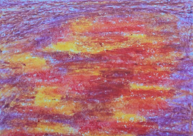 SOLD!!! MRuss original ACEO card oil pastel abstract expressionism folk outsider art #Expressionism #artists