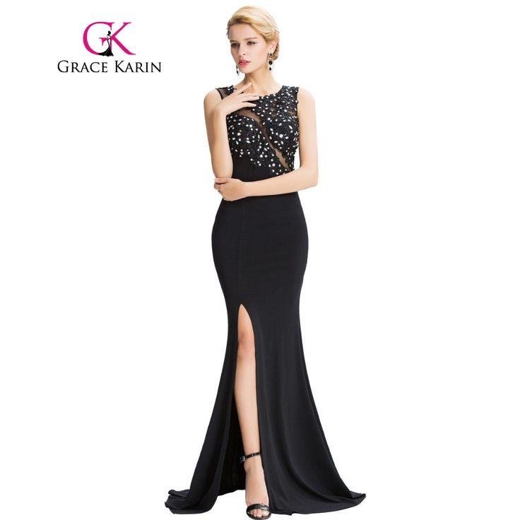Grace Karin Sleeveless Black Mermaid Evening Dresses Floor Length Elegant Long Formal Dresses Robe De Soiree Sexy Evening Gowns