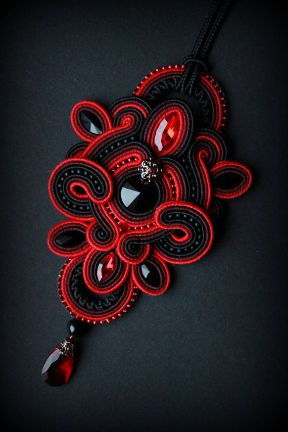 Handmade soutache necklace pendant by Mildossutazas on Etsy