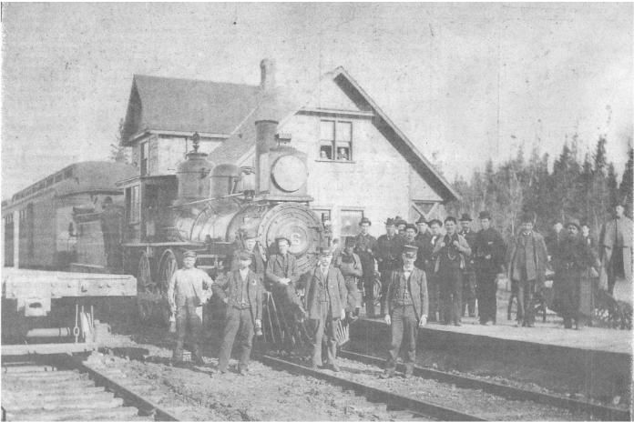 This photo is one of the oldest shots of Killaloe Station available, circa 1905. It shows a Canada Atlantic wood fired engine. Photo courtesy of National Archives of Canada.