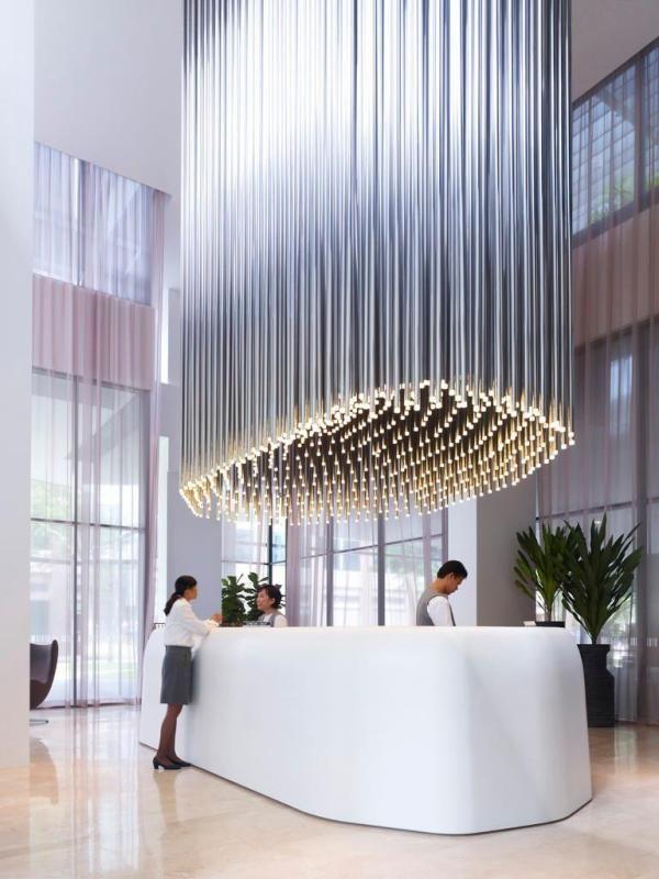 Cool light installation at Studio M Hotel reception in Singapore
