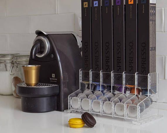 Clear Nespresso Original Capsules Holder 60 Coffee Pod Storage Rack Large Counter Top Display Stand Organizer Decor Coffee Lovers Gift Nespresso Coffee Capsules Coffee Capsule Holder Capsule Holder