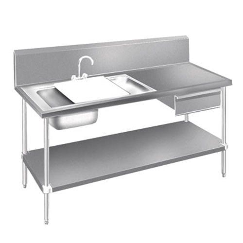 Advance Tabco DL 30 96 Stainless Steel Prep Table With Sinks, Drawer,