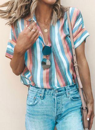5c1a9874c8cf7 Plus Size Geometric Vintage Round Neckline 3 4 Sleeves Blouses - Floryday