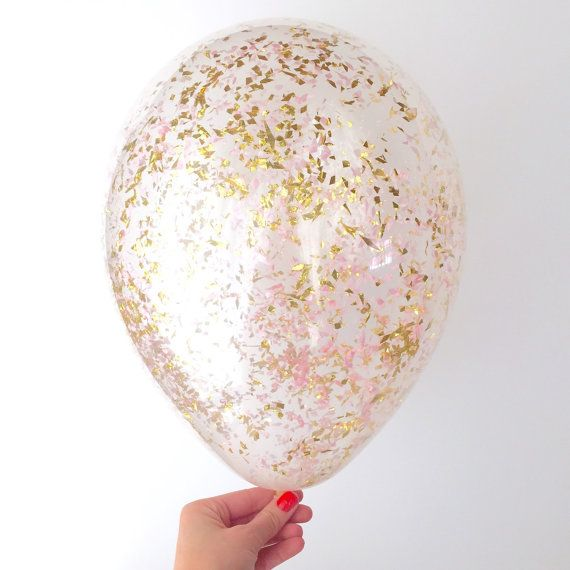Take your party décor to a higher level- Float these whimsical confetti filled balloons!  Pink+Gold tissue and metallic confetti blend in 11 inch clear latex balloons. Set of 3 balloons. Enjoy FREE SHIPPING!*  < < < < THE DETAILS > > > >  < WHEN WILL I RECEIVE MY BALLOONS? >  My production time is 3-5 business days plus shipping time. Need them faster? No problem! You can upgrade your shipping and/or put a RUSH on your order at checkout. Be sure to leave a note of the date you need by. < DO…