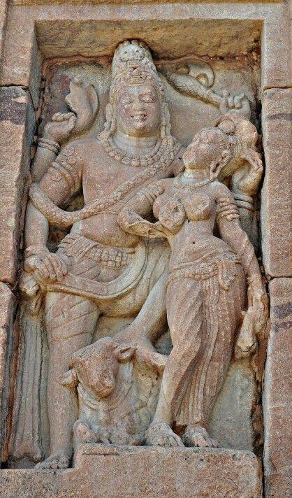 """Lord Shiva and Goddess Parvati. "" Virupaksha Temple. Pattadakal. Chalukya Dynasty. 8th Century CE. Karnataka, India."