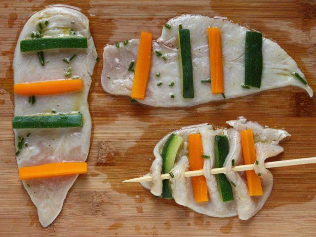 VELINE DI POLLO MARINATO  4/5 - Scolate le Veline dalla marinata disponetevi sopra i bastoncini di ortaggi e, ripiegando un poco la carne, infilzatele con uno spiedino.