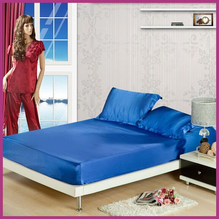 soft skin satin silk fitted bed sheet with elastic