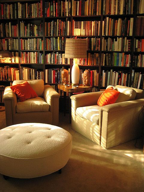 I want a library in my house so bad. A place to just go and relax. Warm and cozy like this.
