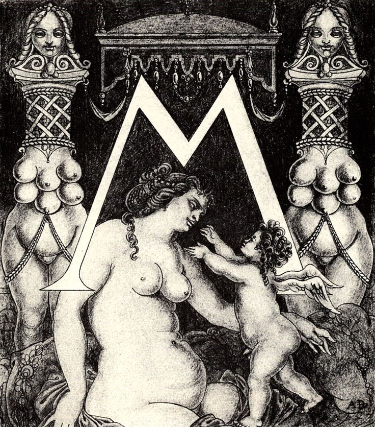 Aubrey Beardsley - Illustration - Art Nouveau  - Initial M for Ben Jonson His Valpone