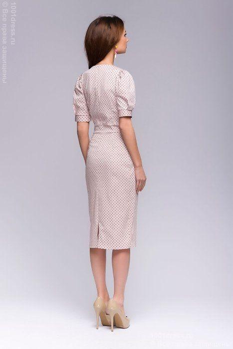 Платье нежно-розового цвета в мелкий горошек с короткими рукавами 1